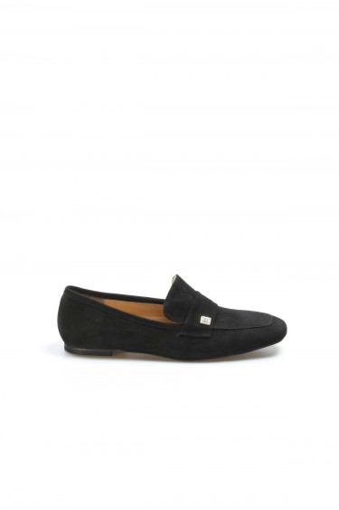 Hakiki Deri Siyah Süet Kadın Babet Ayakkabı 064ZA790