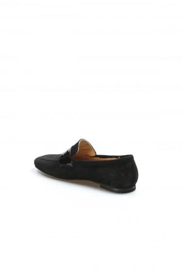 Hakiki Deri Siyah Süet Rugan Kadın Babet Ayakkabı 064ZA790