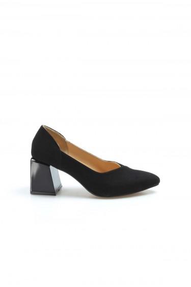 Hakiki Deri Siyah Süet Kadın Kalın Topuklu Ayakkabı 064ZA793