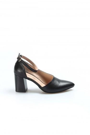 Hakiki Deri Siyah Kadın Kalın Topuklu Ayakkabı 064ZA788