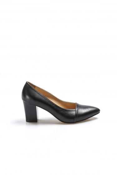 Hakiki Deri Siyah Kadın Kalın Topuklu Ayakkabı 064ZA795