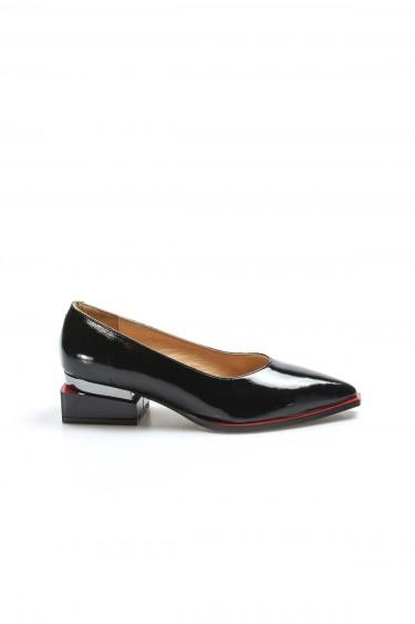 Hakiki Deri Siyah Rugan Kadın Kalın Topuklu Ayakkabı 064ZA792
