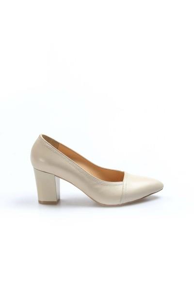 Hakiki Deri Bej Kadın Kalın Topuklu Ayakkabı 064ZA795