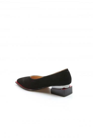 Hakiki Deri Siyah Süet Kadın Kalın Topuklu Ayakkabı 064ZA792