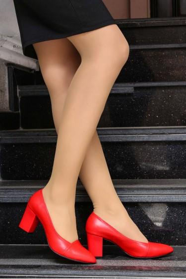 Hakiki Deri Kırmızı Kadın Kalın Topuklu Ayakkabı 064ZA795