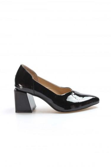 Hakiki Deri Siyah Rugan Kadın Kalın Topuklu Ayakkabı 064ZA793