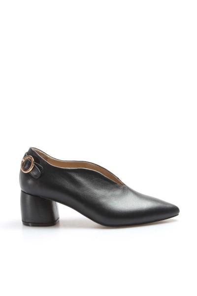 Hakiki Deri Siyah Kadın Kısa Topuklu Ayakkabı 064ZA206