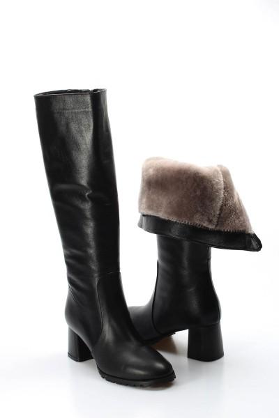 Hakiki Deri Kürklü Siyah Kadın Kalın Topuklu Çizme 064KZA998