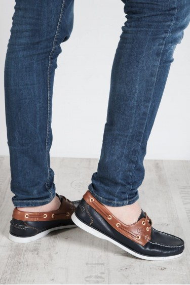 Hakiki Deri Lacivert Taba Erkek Serisonu Ayakkabı 111MA1940