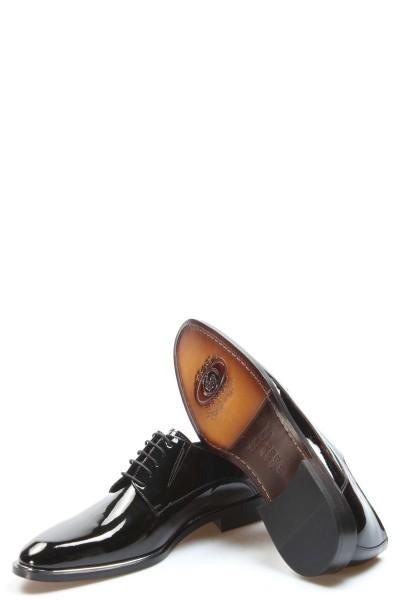 Hakiki Deri Kösele Siyah Rugan Erkek Klasik Ayakkabı 237MA159