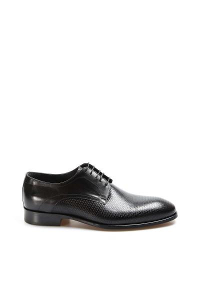 Hakiki Deri Kösele Siyah Baskılı Erkek Klasik Ayakkabı 237MA572