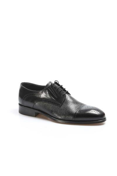 Hakiki Deri Kösele Siyah Bufalo Geyik Erkek Klasik Ayakkabı 237MA574