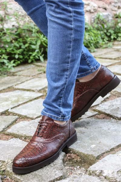 Hakiki Deri Taba Yılan Erkek Klasik Ayakkabı 252MA6336