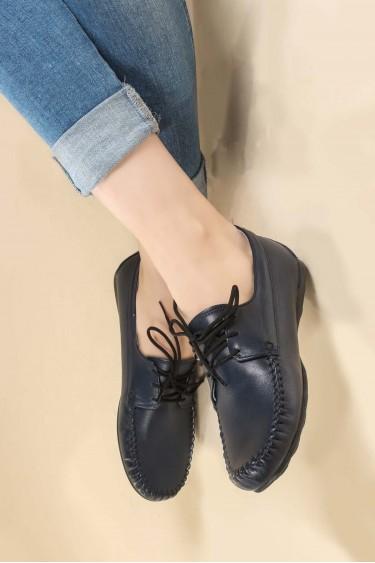 Hakiki Deri Lacivert Kadın Serisonu Ayakkabı 257ZA045
