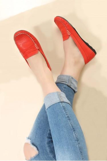 Hakiki Deri Kırmızı Kadın Serisonu Ayakkabı 257ZA046