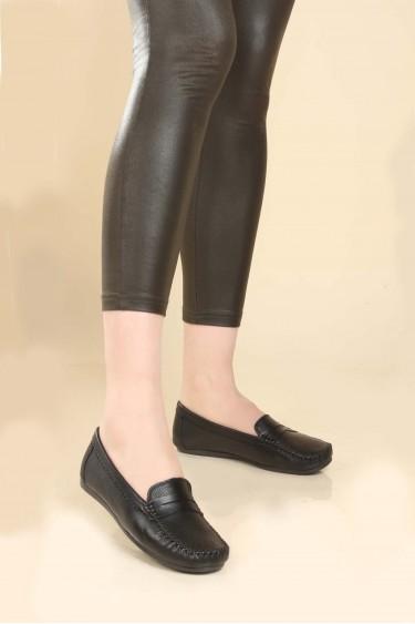 Hakiki Deri Siyah Kadın Serisonu Ayakkabı 257ZA046
