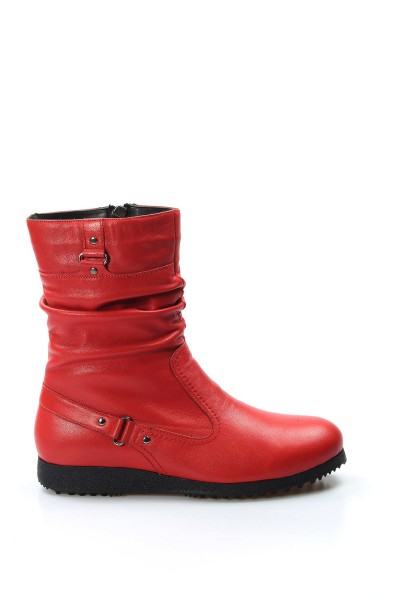 Hakiki Deri Kırmızı Kadın Serisonu Bot 257SZA620
