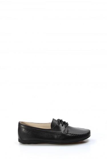 Hakiki Deri Siyah Kadın Serisonu Ayakkabı 257ZA045