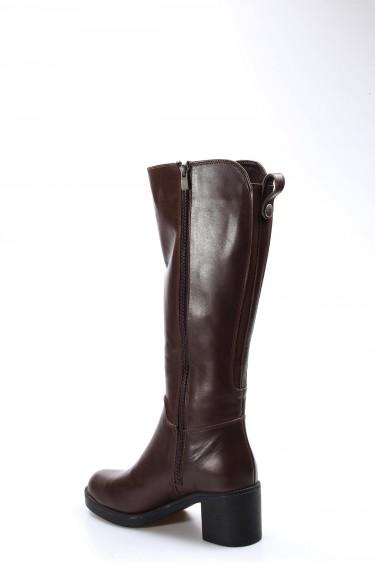 Hakiki Deri Kürklü Kahve Kadın Kalın Topuklu Çizme 407KZA2114