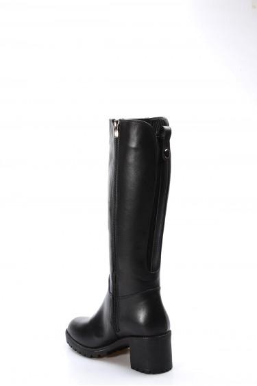 Hakiki Deri Kürklü Siyah Kadın Kalın Topuklu Çizme 407KZA2114