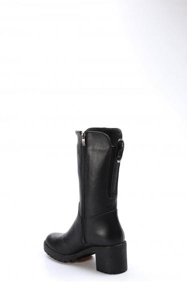 Hakiki Deri Kürklü Siyah Kadın Yüksek Topuk Çizme 407KZA2116