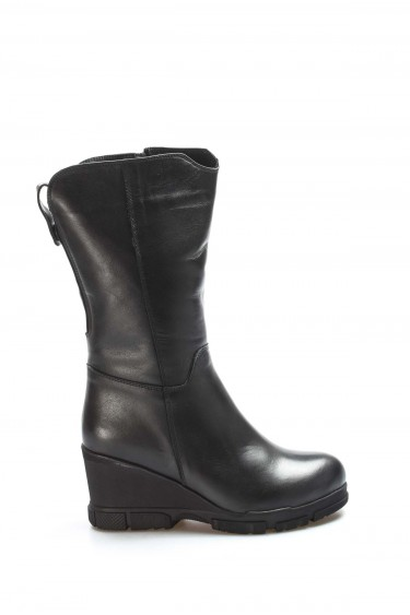 Hakiki Deri Kürklü Siyah Kadın Dolgu Topuk Çizme 407KZA3316