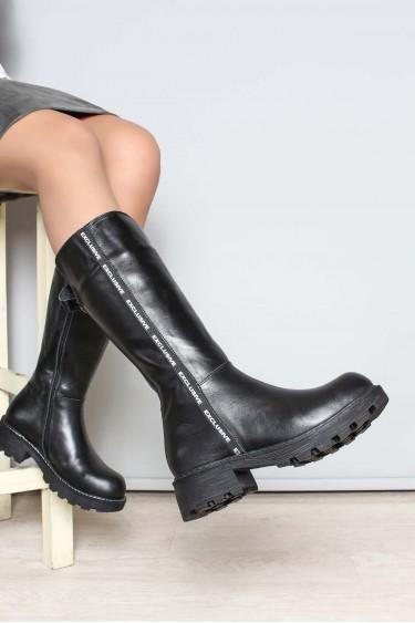 Hakiki Deri Kürklü Siyah Kadın Klasik Çizme 407KZA3125