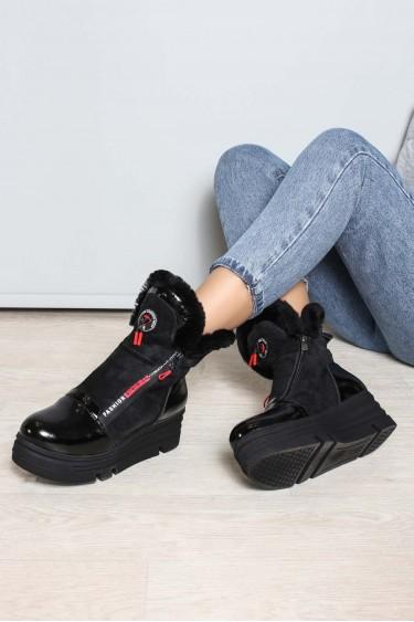 Hakiki Deri Kürklü 19-60 Siyah Rugan Siyah Nubuk Kadın Dolgu Topuk Bot 407KZA3201