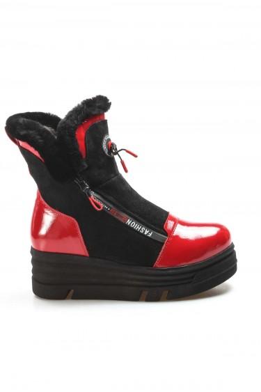 Hakiki Deri Kürklü 18-60 Kirmizi Rugan Siyah Nubuk Kadın Dolgu Topuk Bot 407KZA3201