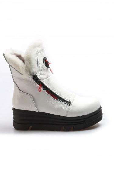 Hakiki Deri Kürklü 34 Beyaz Floter Kadın Dolgu Topuk Bot 407KZA3201