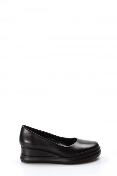 Hakiki Deri Siyah Kadın Serisonu Ayakkabı 407ZA9147