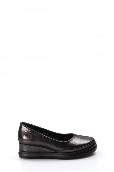 Hakiki Deri Siyah Saten Kadın Serisonu Ayakkabı 407ZA9147