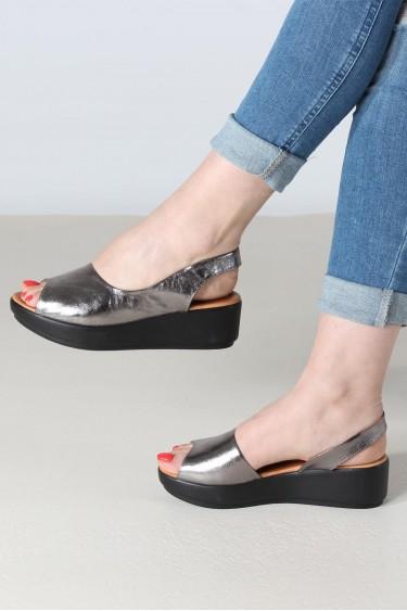 Hakiki Deri Çelik Kadın Serisonu Sandalet 408ZA1035