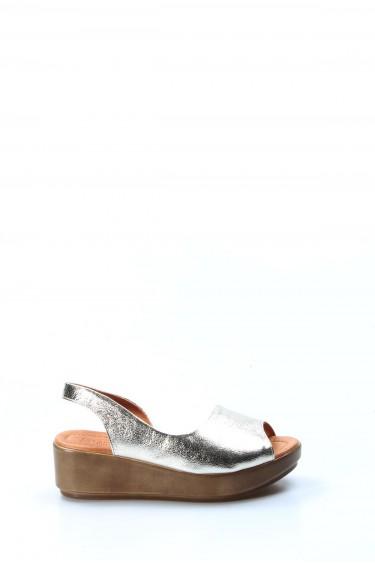 Hakiki Deri Altın Kadın Serisonu Sandalet 408ZA1035