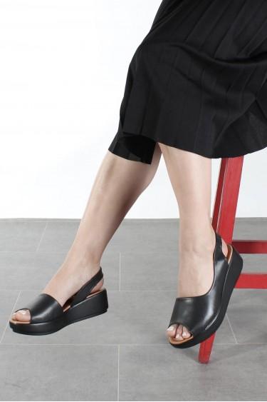 Hakiki Deri Siyah Kadın Serisonu Sandalet 408ZA1035