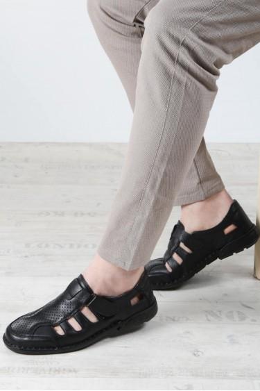 Hakiki Deri Ortopedik Siyah Erkek CASUAL SANDALET Sandalet 662MA117B