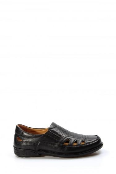 Hakiki Deri Ortopedik Siyah Erkek Klasik Sandalet 662MA118KT