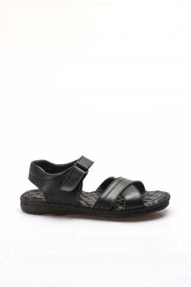 Hakiki Deri Siyah Erkek Klasik Sandalet 662MA121B