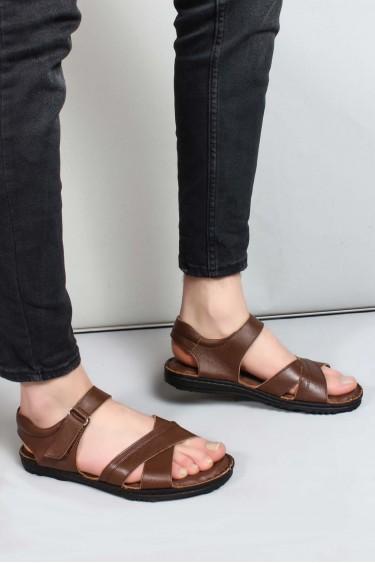 Hakiki Deri Kahve Erkek Klasik Sandalet 662MA121B