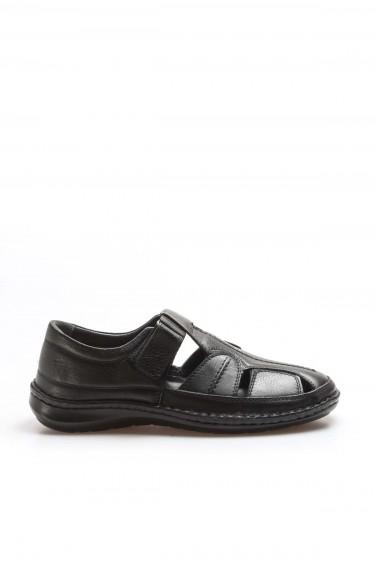Hakiki Deri Siyah Erkek Klasik Sandalet 662MA119B