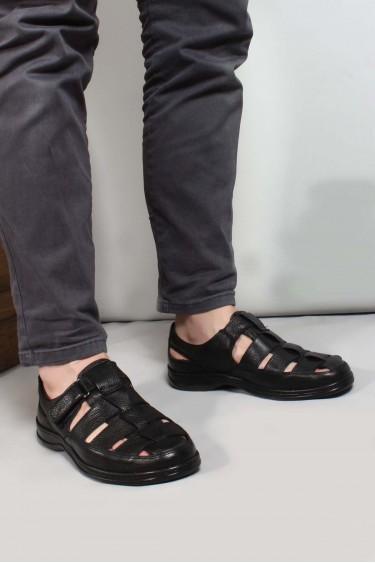 Hakiki Deri Siyah Erkek Klasik Sandalet 698MA416034