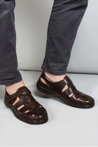 Hakiki Deri Kahve Erkek Klasik Sandalet 698MA416034
