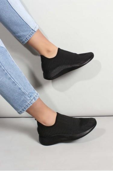01 Siyah Triko Kadın Sneaker Ayakkabı 698ZA570031