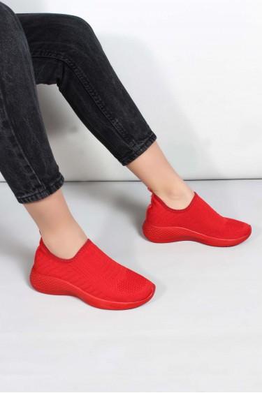 05 Kirmizi Triko Kadın Sneaker Ayakkabı 698ZA570031