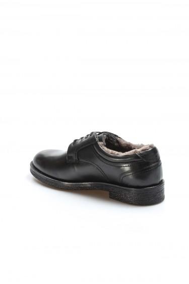 Hakiki Deri Kürklü Siyah Erkek Klasik Ayakkabı 701KMA380-6