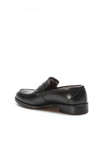 Hakiki Deri Kürklü Siyah Erkek Klasik Ayakkabı 701KMA015-2