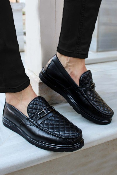 Hakiki Deri Kürklü Siyah Erkek Klasik Ayakkabı 701KMA298