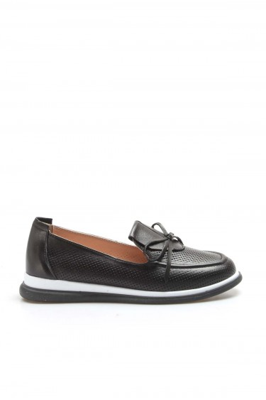 Hakiki Deri Siyah Kadın Casual Ayakkabı 710ZA1001