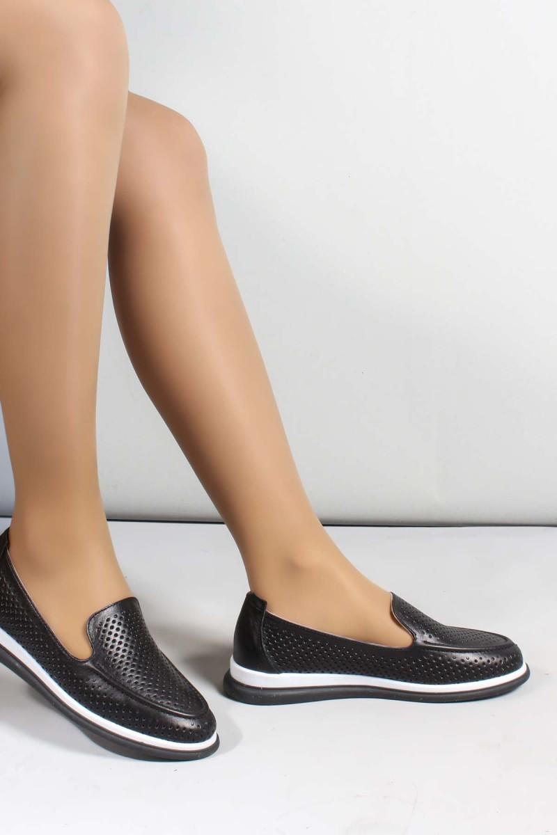 Hakiki Deri Siyah Kadın Casual Ayakkabı 710ZA1000