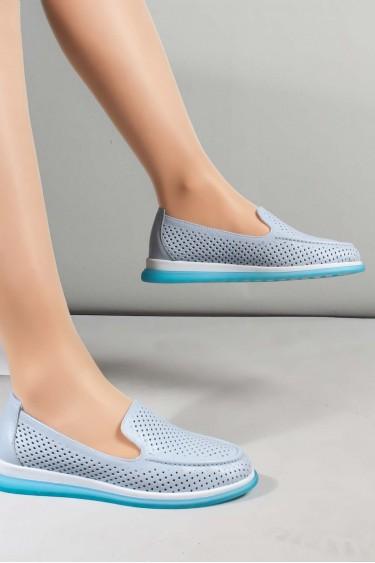 Hakiki Deri Buz Mavi Kadın Casual Ayakkabı 710ZA1000